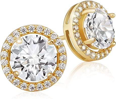 Cubic Zirconia Square Cluster Mini Stud Earrings Summer Sale 14K Yellow Gold Plated Round AAA