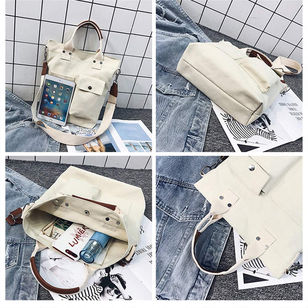 Rrock Pocket Canvas Bag Messenger Bag Fashion Student Shoulder Bag Casual Portable Large Capacity Bag,White