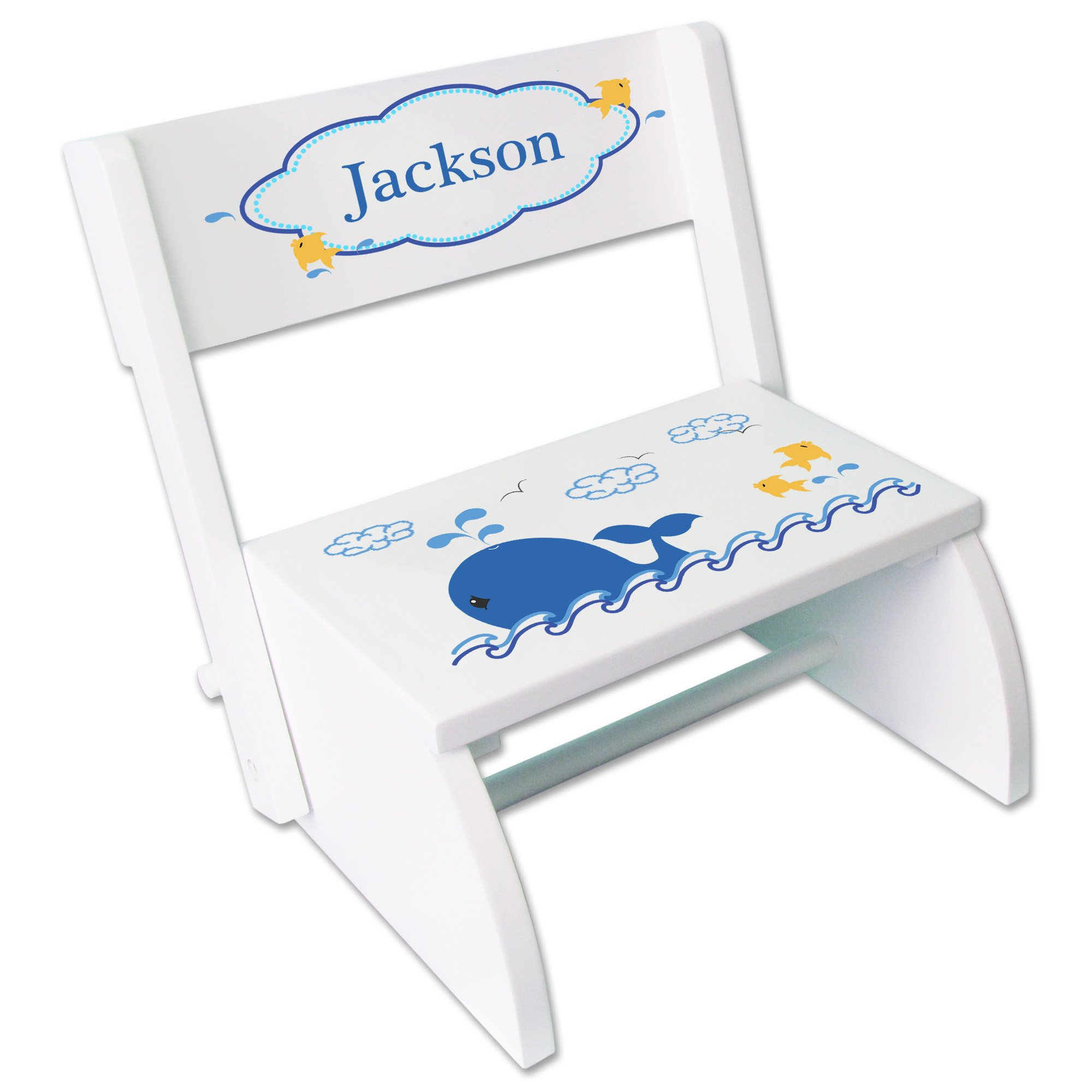 Personalized Blue Whale Childrens and Toddlers White folding stool
