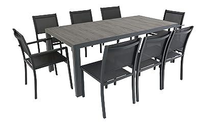 Oviala Salon de Jardin Aluminium et céramique, 1 Table, 6 chaises, 2 ...