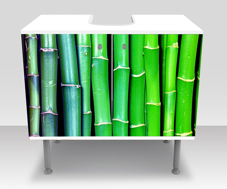 Badunterschrank bunter Bambus Asien Designschrank Bad Unterschränke