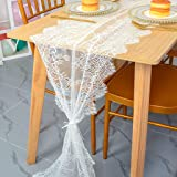 Vintage Lace Table Runner 16x120-Inch 1 Pack Wedding Bridal Lace Table Runners Flower Table Runner Tea Party Tablecloth White