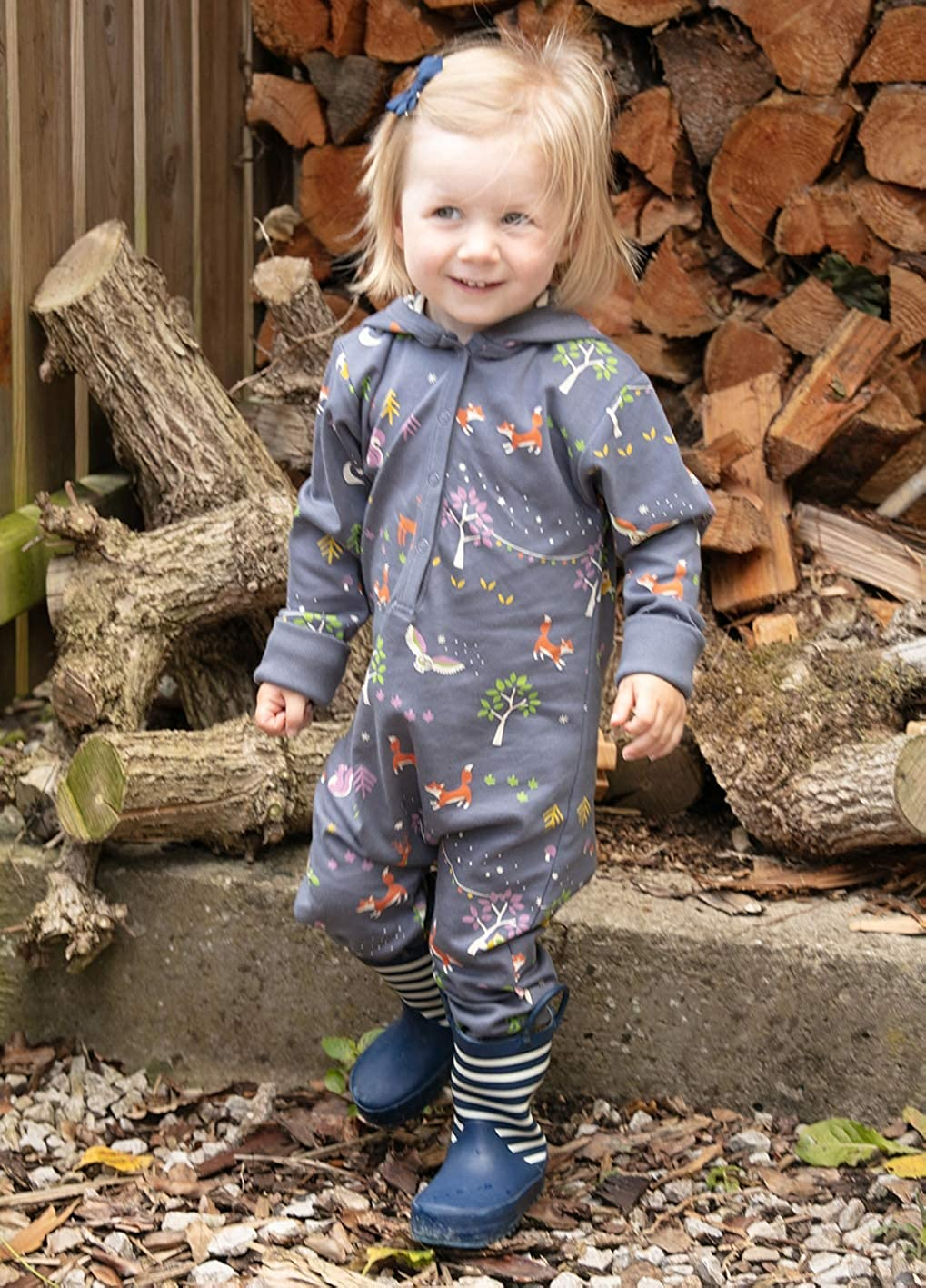 Tuta Intera con Cappuccio per Bambini con Animali della Foresta Grigi Unisex Piccalilly in Morbido Jersey di Cotone Biologico