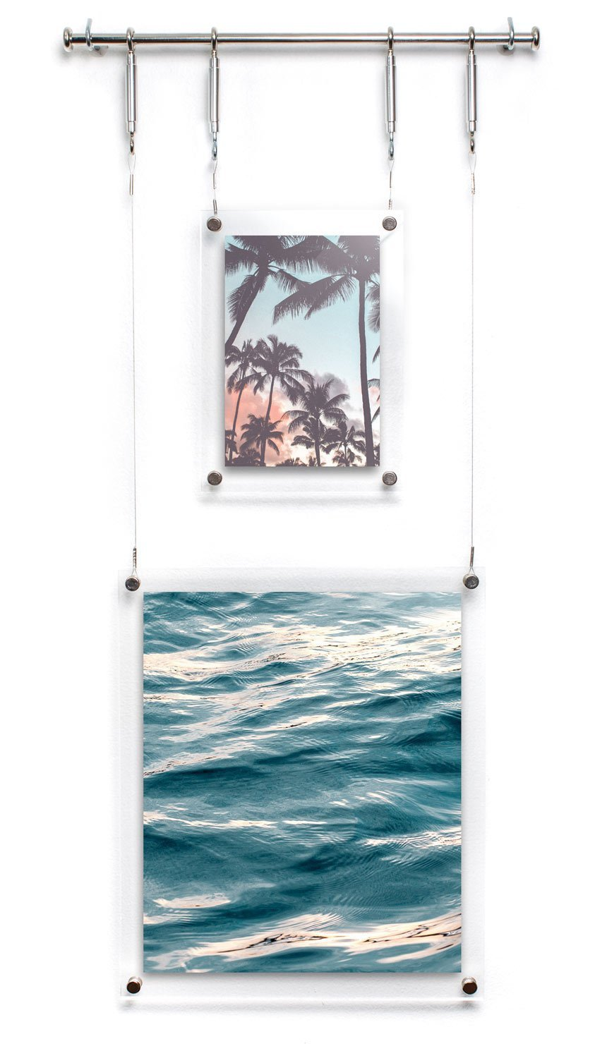 HIGHWIRE Picture Frame Display, Set of Two Hanging / Wall Mounted Photos (4x6'', 8x10''), Acrylic, Steel & Aluminum by HIGHWIRE