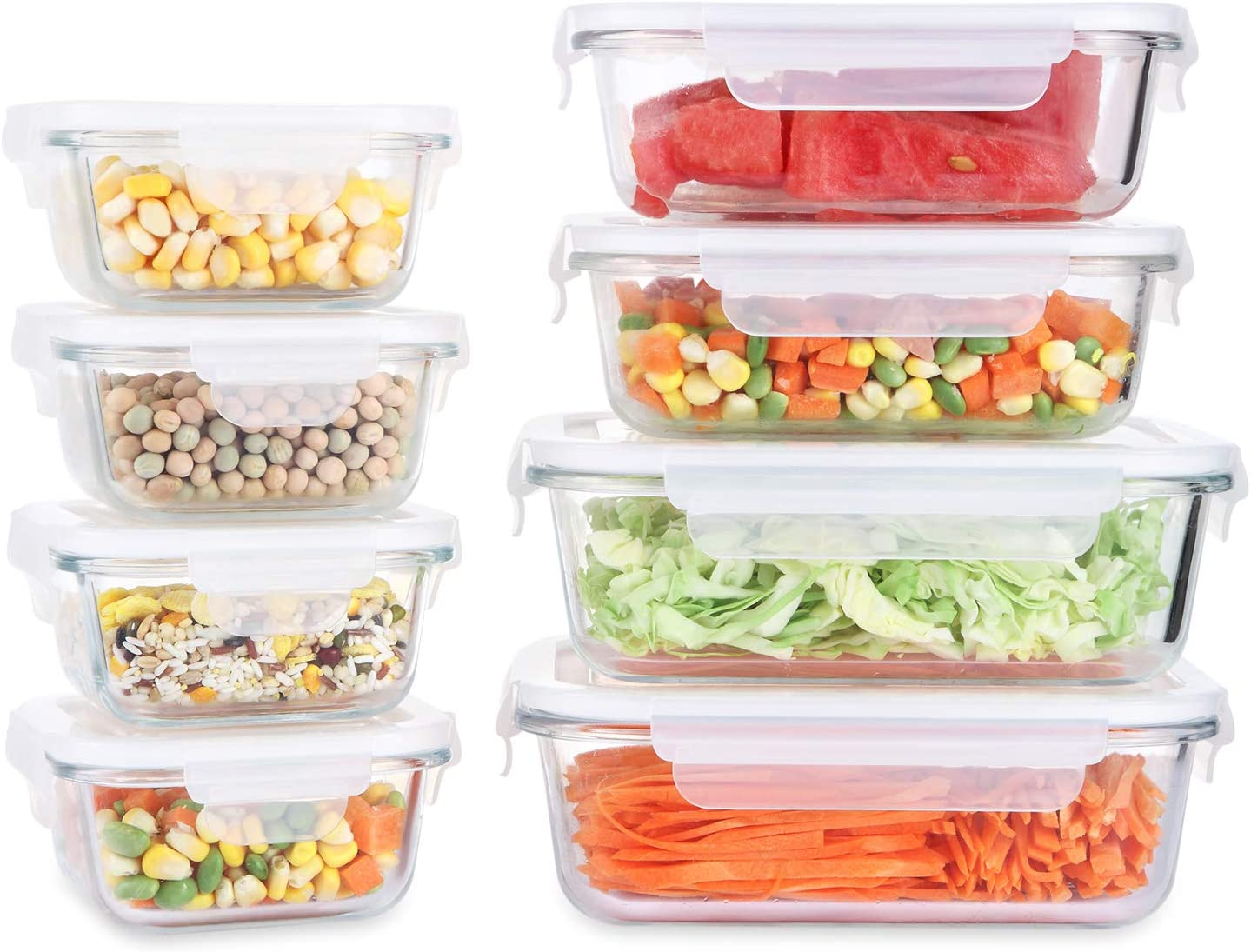 Fresh Friend 8 Pack Glass Food Storage Containers with Lids Airtight BPA Free, Leakproof Lunch Containers, Stackable Kitchen Freezer Containers for Food Meal Prep, Christmas Gift