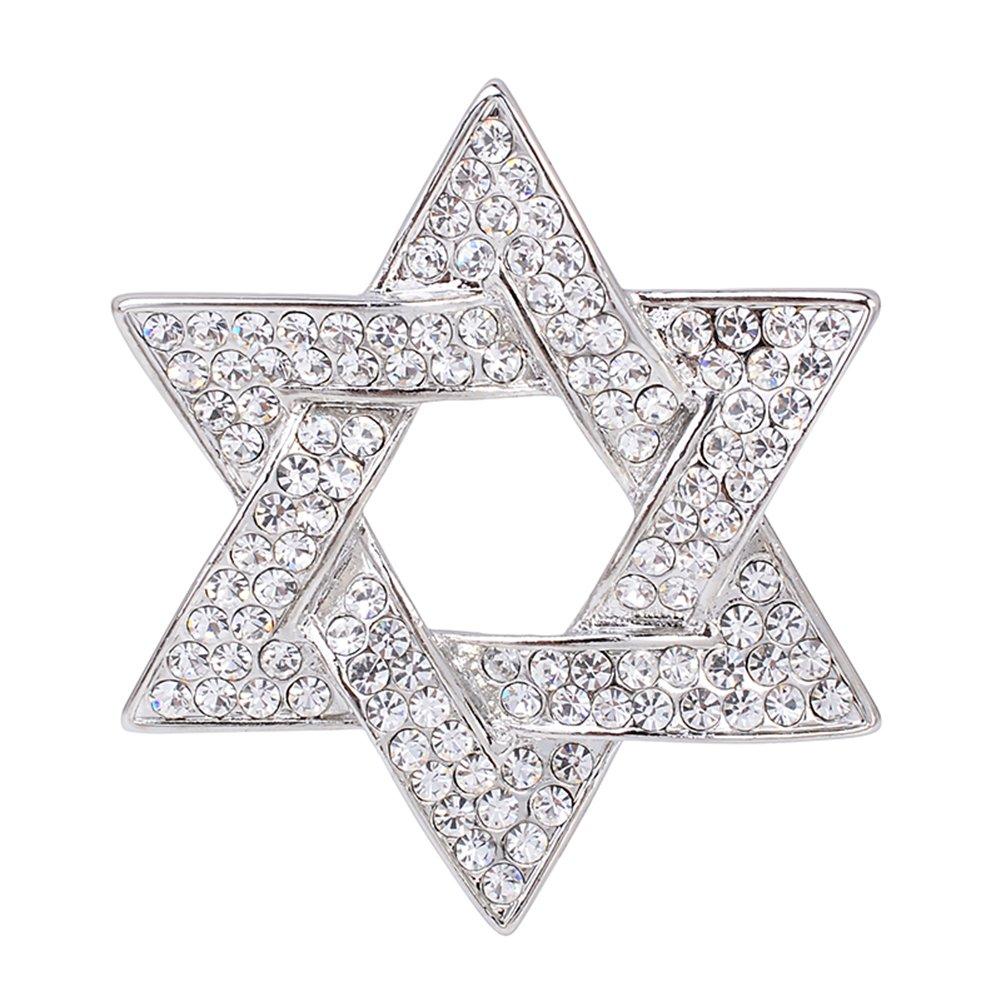 OBONNIE Gold Rhinestones Crystal Hexagram Women Men Brooch Pin Star of David Badge Wedding Party Jewelry (Silver)