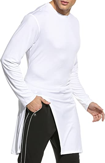 COOFANDY Camiseta Blanca Hombre Manga Larga Sólido Delgado Irregular XL: Amazon.es: Ropa y accesorios