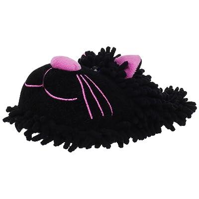 Amazon.com | Fuzzy Friends Women's Cat Slipper, Black, One Size | Slippers