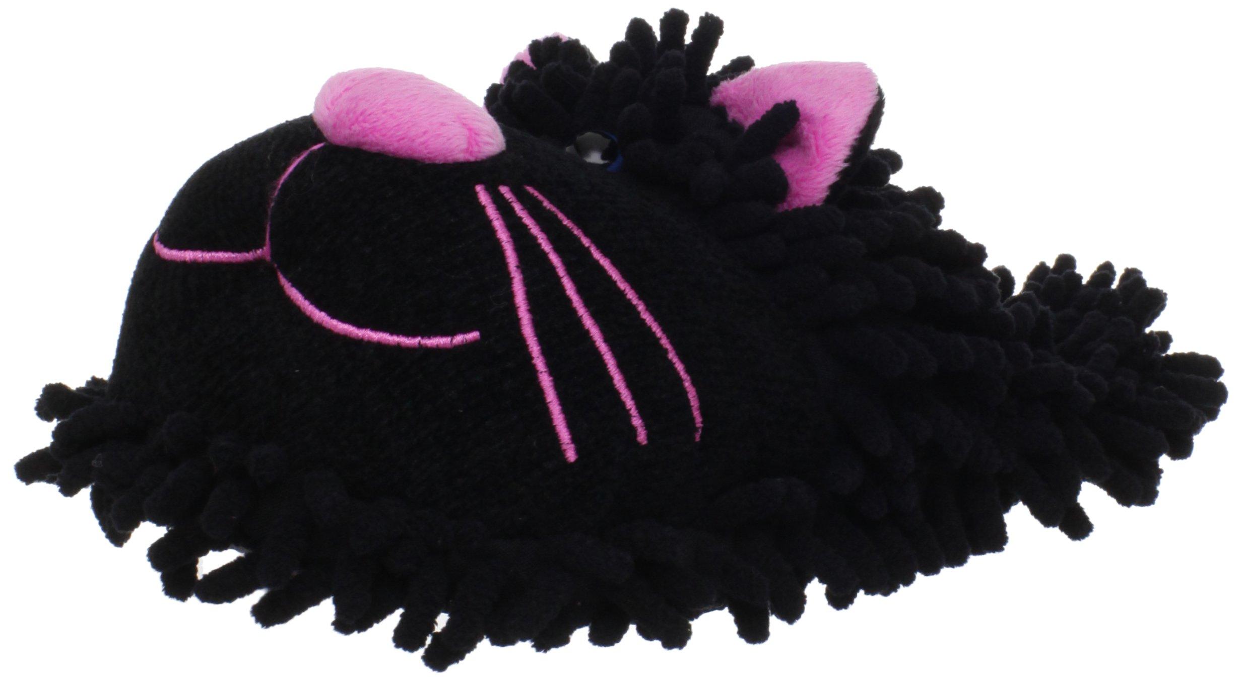 Fuzzy Friends Women's Cat Slipper,Black,One Size