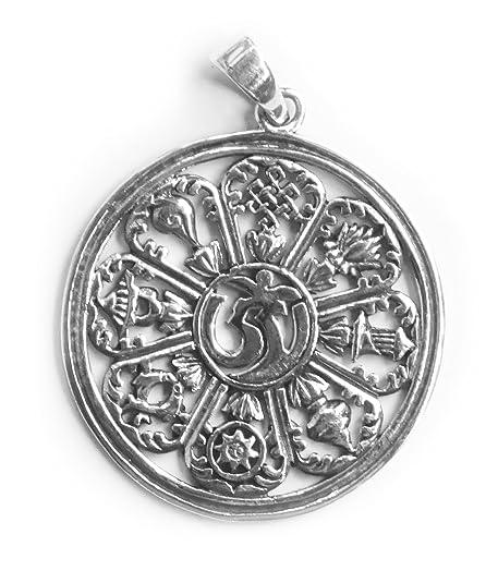 Colgante/Amuleto Wheel Of Life/bhavacakra y Om, 925 plata de ...