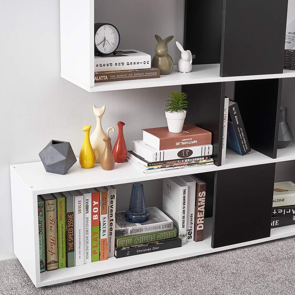 Panana-B S Shape Bookcase Wood Bookshelf Storage Display Shelves Shelving Unit Free Standing Living Room White and Black