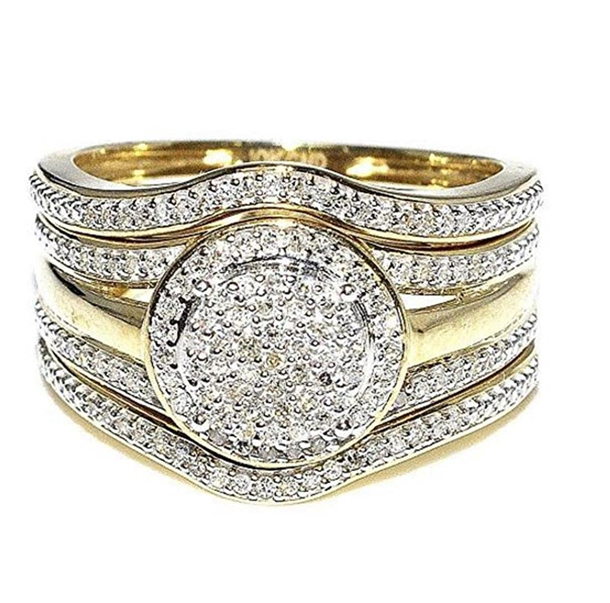 Midwest Jewellery Yellow Gold Wedding Rings Set 12mm Wide 3 Piece Set 1 3cttw Diamonds I2 I3 I J