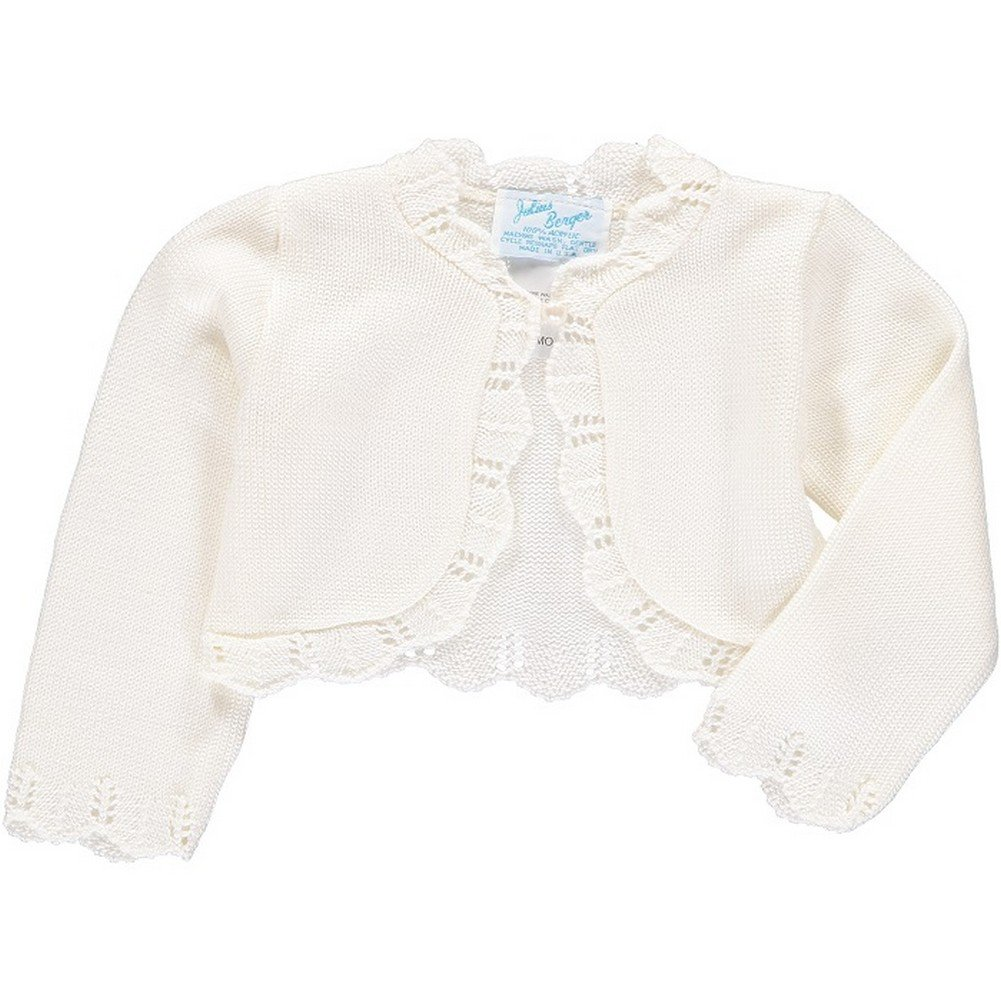 Julius Berger Little Girls Ivory Scalloped Edge Mid Torso Classic Bolero 2T-6X
