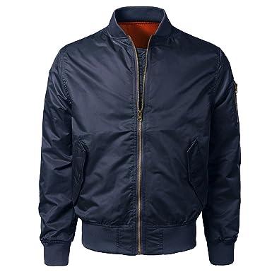 YanHoo Chaquetas Deportivas para Hombre Chaqueta de Bolsillo de Color sólido para Hombre Hombres Primavera Otoño Invierno Casual Solid Slim Bomber Jacket ...