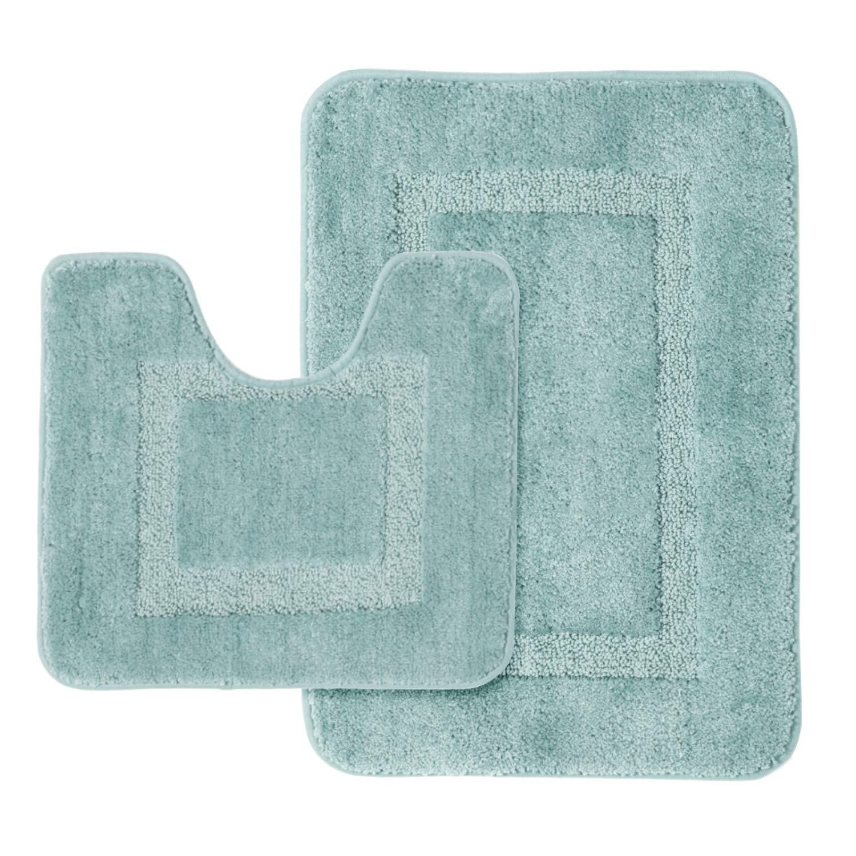 Bathroom Microfiber Bath Rugs Toilet Set Non-Slip Shaggy Bath Rug Super Absorbent Machine Wash Extra Soft Plush Bath Rug Set Large 20'' x 32'' Contour 20'' x 18'' Eggshell Blue