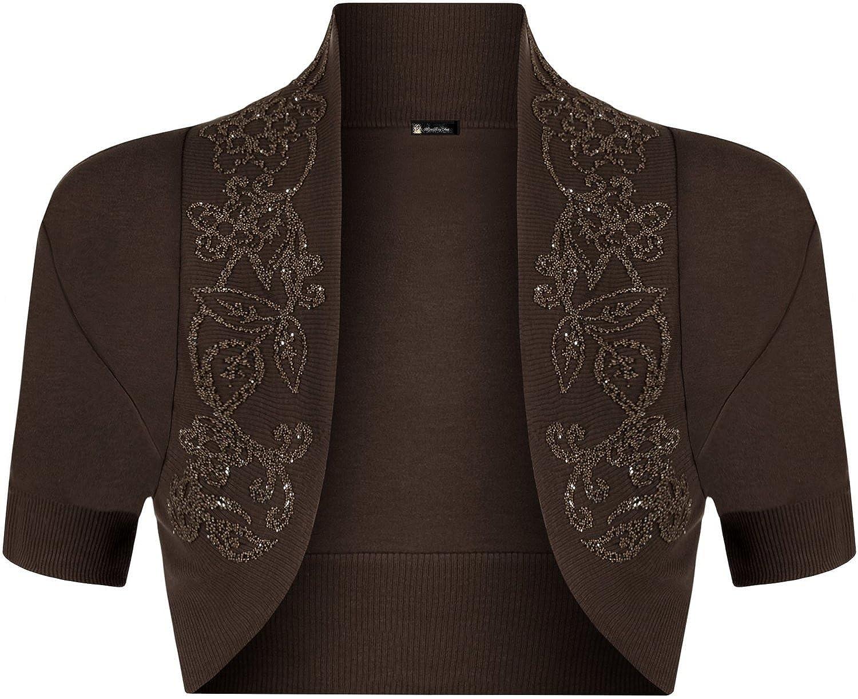 Momo Fashions-Ladies Short Sleeve Beaded Shrug Bolero Sizes 8-14