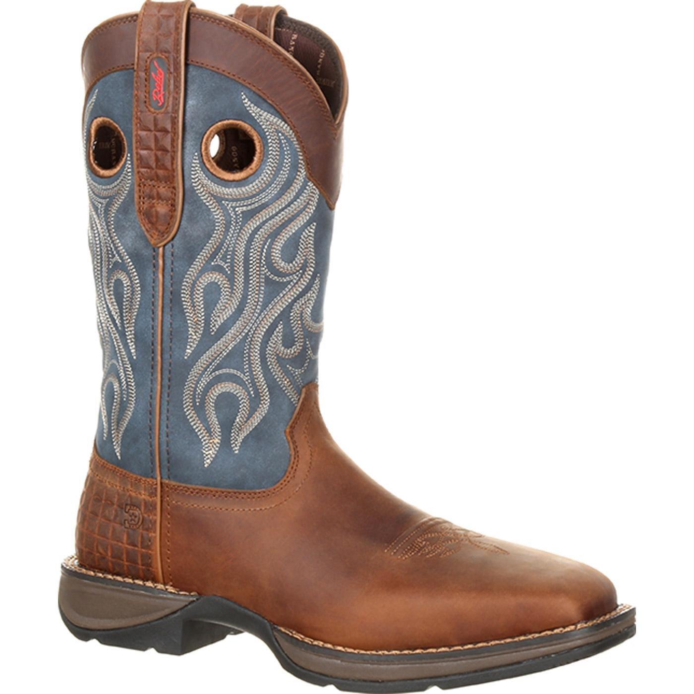 Durango Men's Rebel 12'' Western WP Square Steel Toe Dark Brown/Blue 11.5 D US