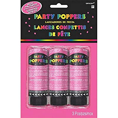 """Amscan Party Supplies, Confetti Party Poppers, Party Supplies, Pink, 4"""" 3ct: Kitchen & Dining"""