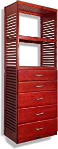 John Louis Home 16in. Deep Storage Tower - with 5 Drawers - 6in, 8in. Deep, Red Mahogany Finish