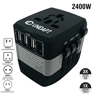 International Charger, 2400W High Power Travel Plug Adapter - Unidapt 3-USB Charging Ports & Type C - Power Adapters Covers over 170 Countries +Pouch, For Blow Dryer, Hair Dryer, Cooker, Curling Ironr