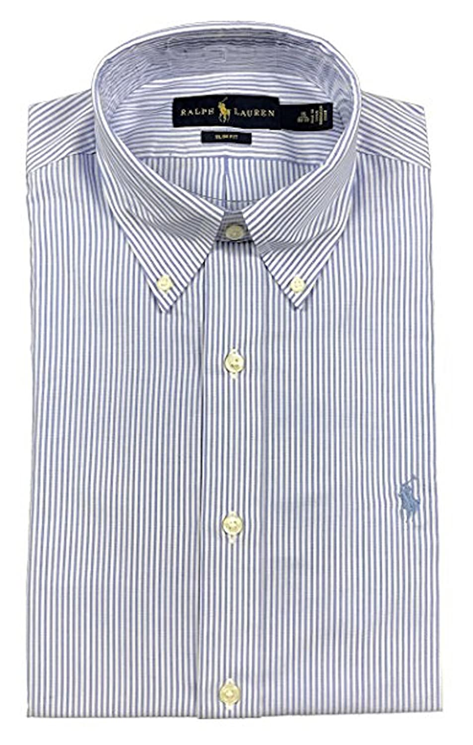 RALPH LAUREN Men Slim Fit Button Down Pony Logo Striped Shirt