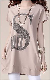 TAIDUJUEDINGYIQIE T-Shirt Manica Corta da Donna a Maniche Lunghe Stile Medio Corto