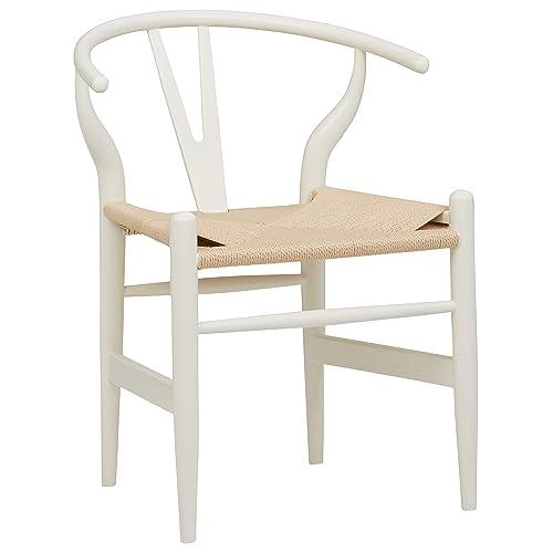 Stone Beam Classic Wishbone Dining Chair, 29.1 Height, White