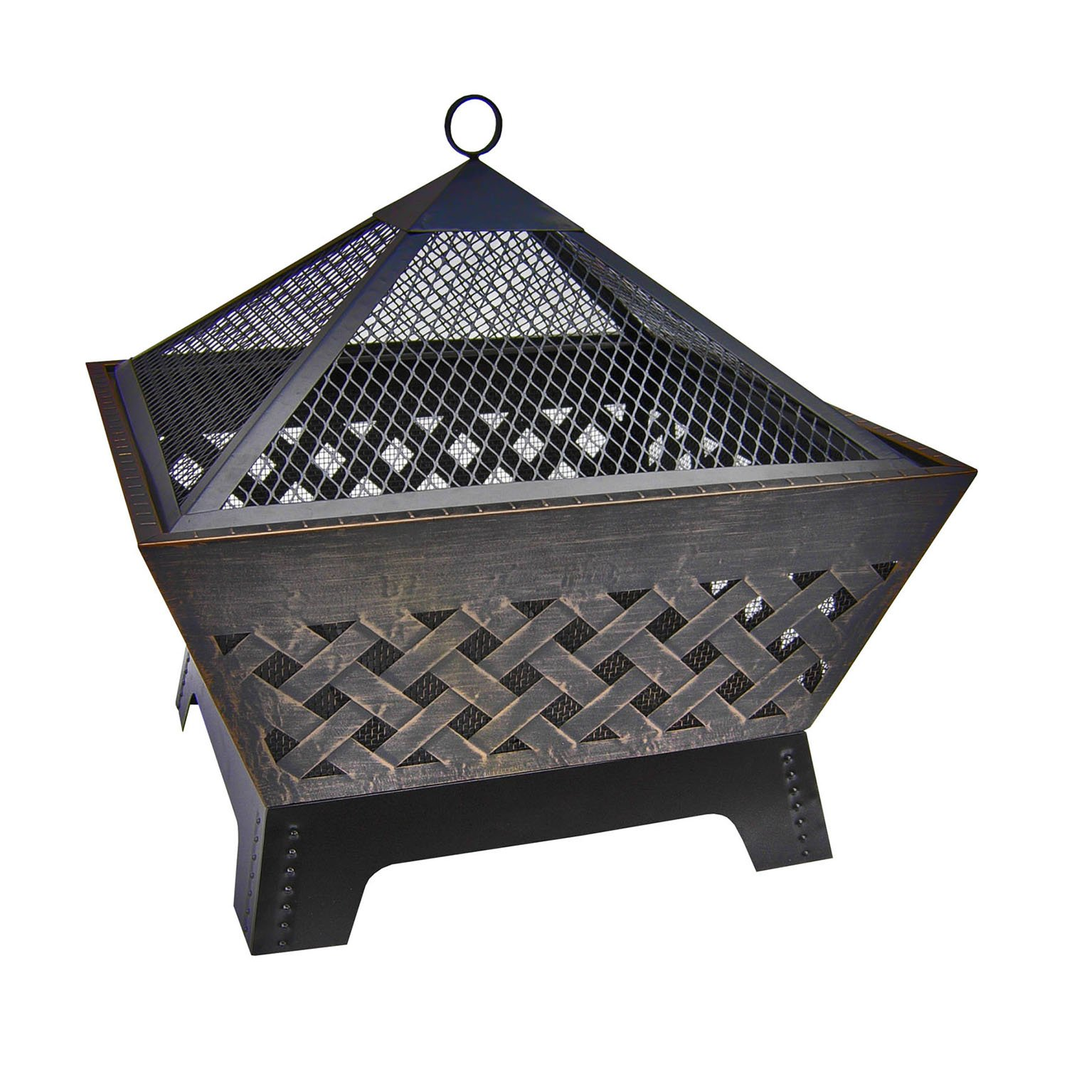 Barrone Fire Pit with Cover, 26-Inch, Antique Bronze