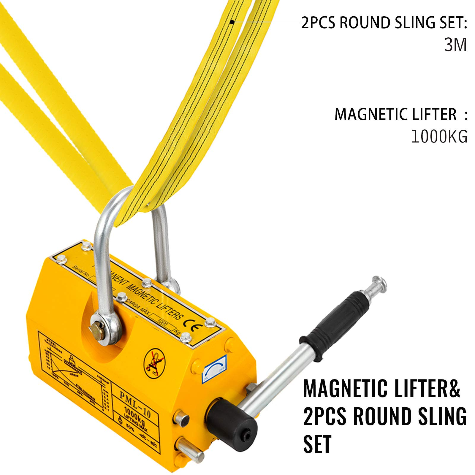 Mophorn 2200LBS Magnetic Lifter and 2Pcs 20Ft 6600LBS Perimeter Endless Round Lifting Sling