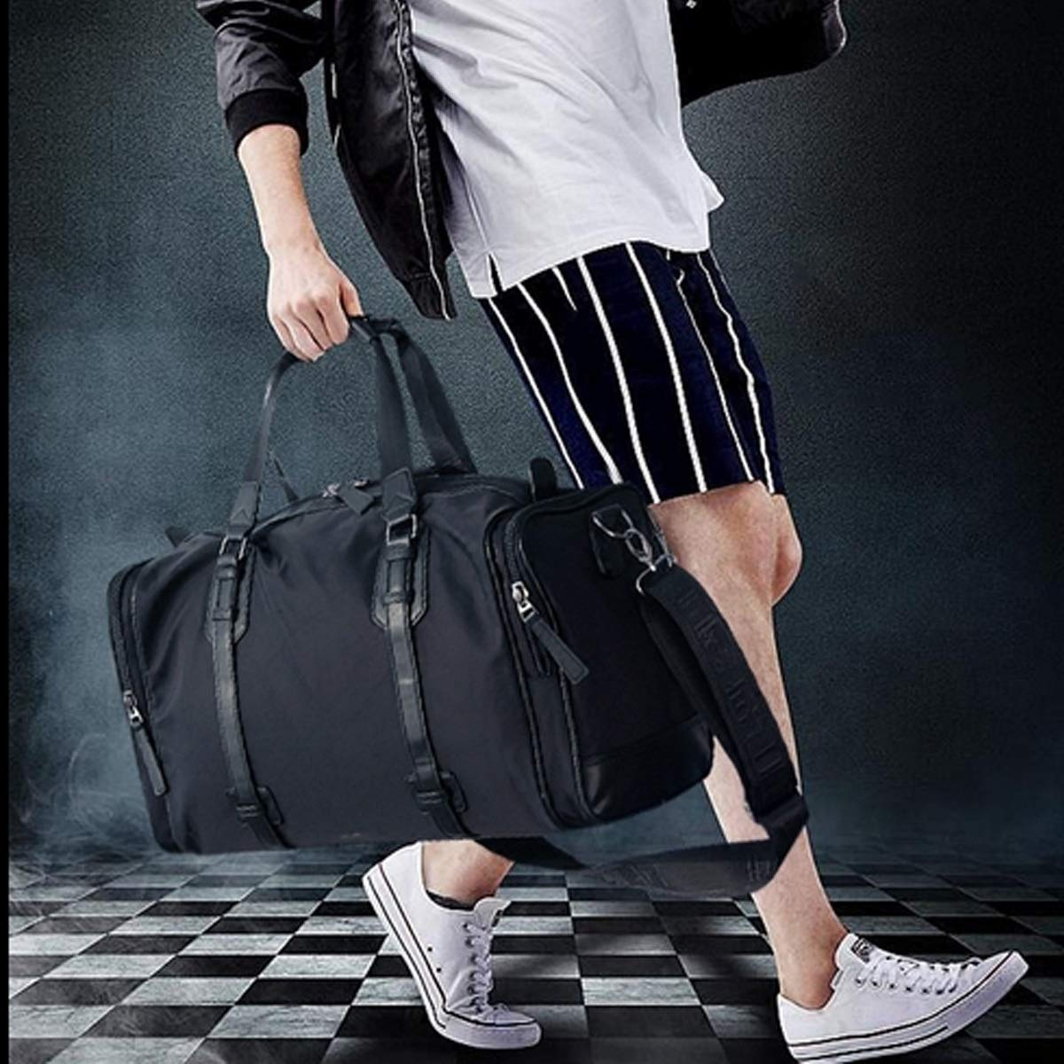 Waterproof And Wearable Luggage Bag Large Capacity Xionghaizi Duffel Bag Travel Storage Esse Work Bag Upgraded Retro Multi-functional Canvas Bag 22 Inches Classic Multi-color Optional Handbag