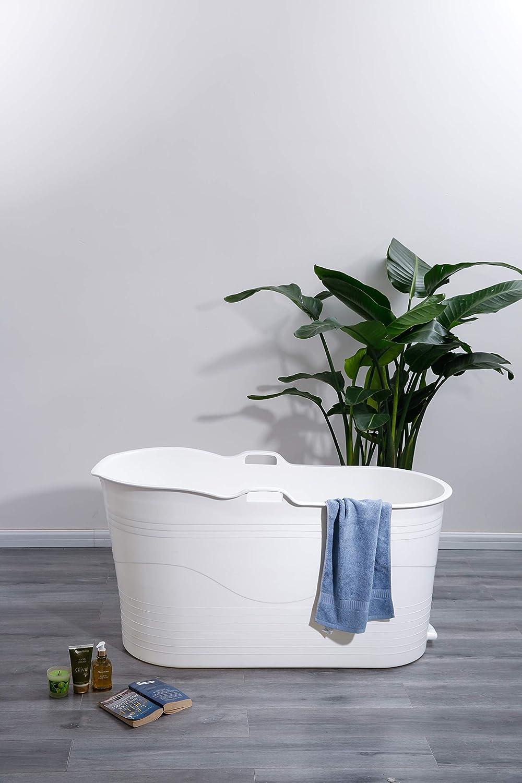 123 x 51 x 63 cm Id/éale pour la petite salle de bain Style et humeur Baignoire mobile pour adulte XL blanc