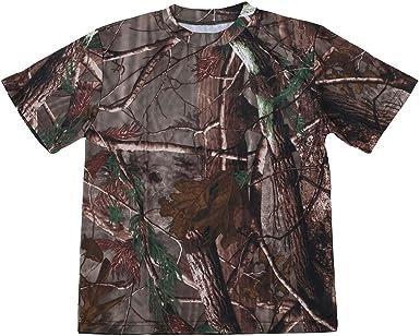 RETYLY Nuevo Camiseta camuflaje de caza al aire libre Camiseta del ejercito transpirable de hombre Camiseta de campamento camo de deporte seco Camuflaje de arbol L: Amazon.es: Ropa y accesorios