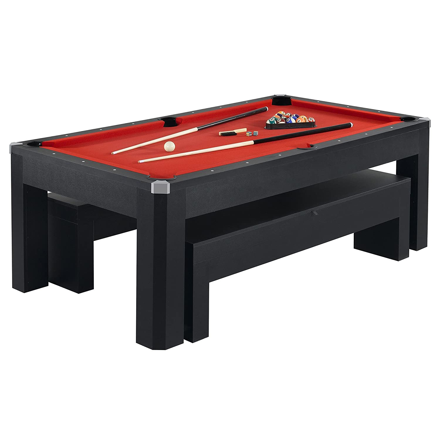 Hathaway Park Avenue 7u0027 Pool Table Tennis Combination With Dining Top, Two  Storage Benches