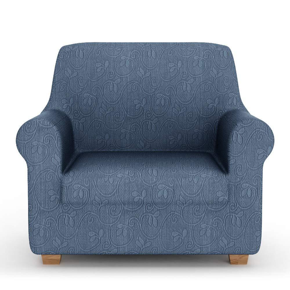 PETTI Artigiani Italiani Elastic Cover, Elegant Sofa Slipcover, 100% Made in Italy, Fabric, Blue, 1 Seater/Armchair