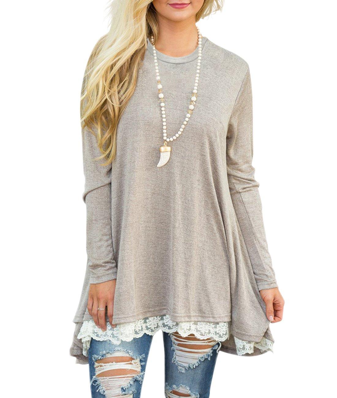 Sanifer Women Lace Long Sleeve Tunic Top Blouse (XX-Large, Khaki)