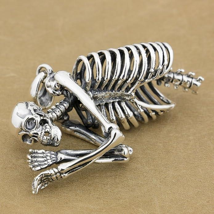JP Linsion Cool T/ête de mort pour le haut du corps Squelette pour homme Pendentif Argent sterling 925/motard Bijoux 9l021/--