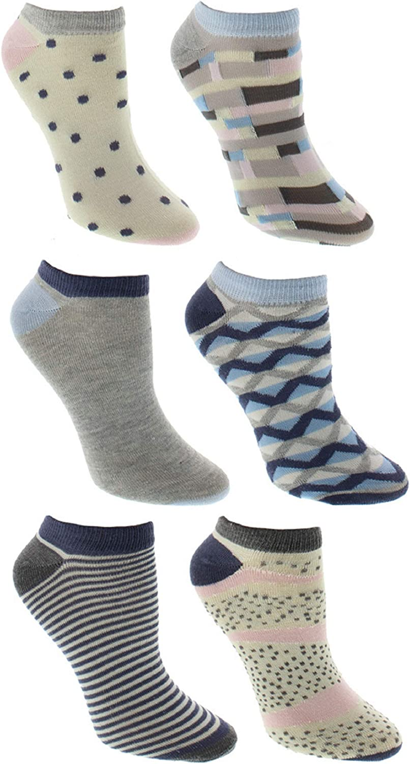 Various Designs Polka Dots SPORTICUS Womens Fun /& Colorful 6-Pack Ankle Socks