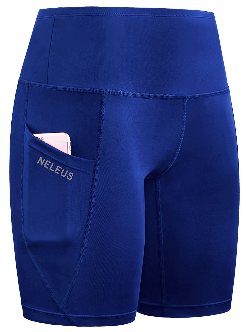 Neleus Women's Workout Running Compression Shorts with Pocket,High Waist,Tummy Control,9032,Pack of 1,Blue,M,EU L