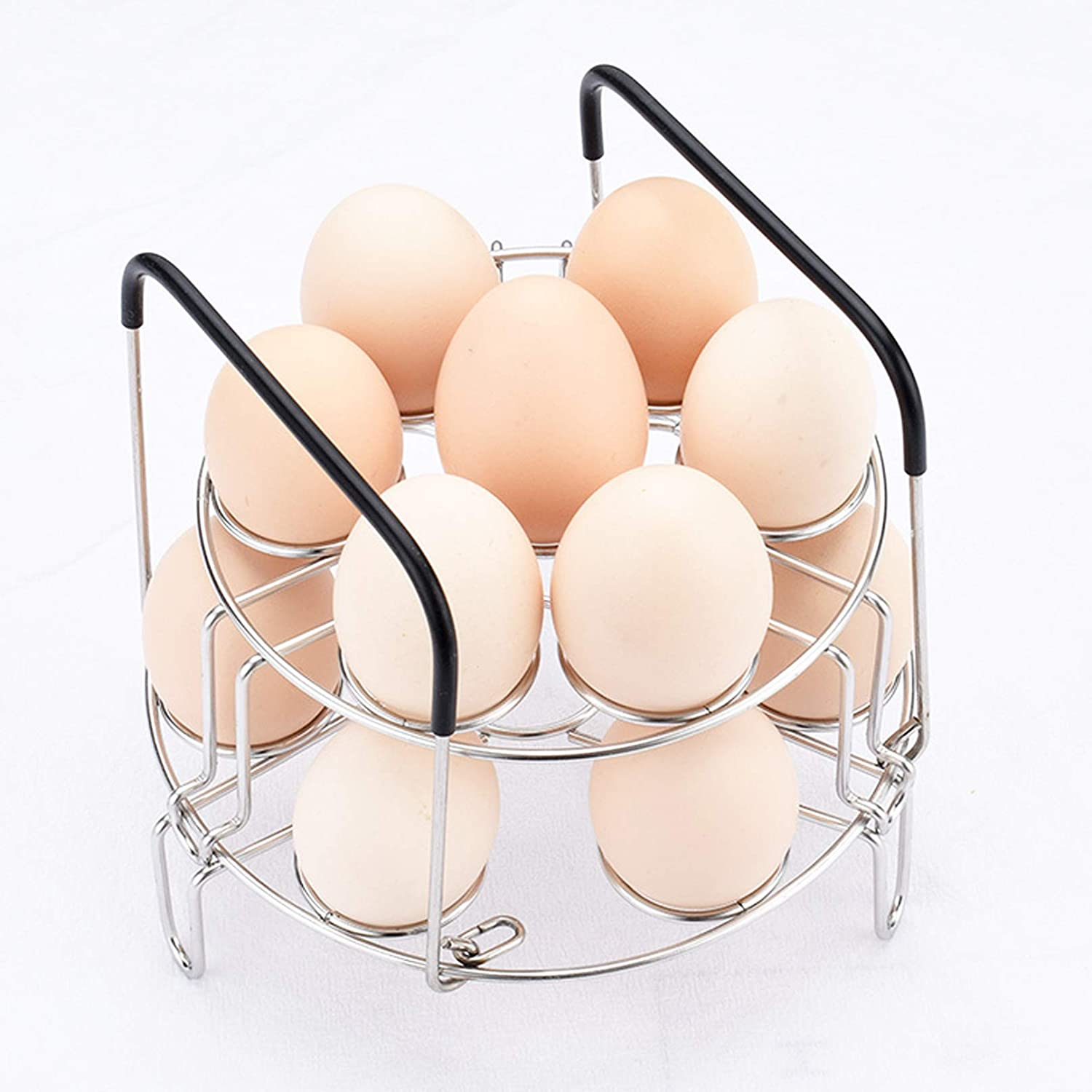 FANGULU 1PCS Portable Stainless Steel Egg Rack Silicone Handles Steamer Egg Cooking Rack 14 Egg Support Hole Positions Compatible for 6 and 8 Quart Instant Pot