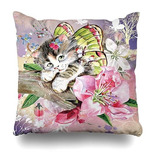 Green Haoke Funda de Almohada Decorativa Aquarelle Gato ...
