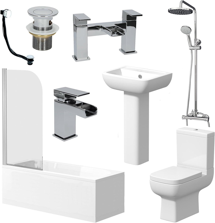 Affine Bathroom Suite Bath 1700 Single Ended Straight Basin Sink Vanity Unit Toilet Wc Kitchen Bath Fixtures Diy Tools