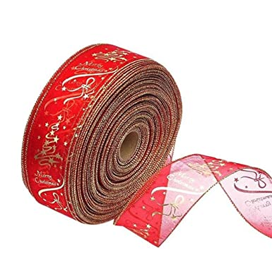 Christmas Ribbon.Wired Traditional Red With Gold Edges Velvet Christmas