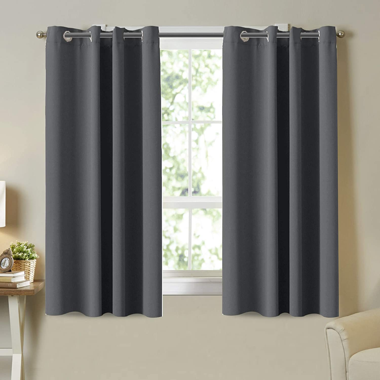 Grey Blackout Curtain Panels for Bedroom- Thermal Insulated Solid Grommet Top Blackout Curtains/Drapes for Kid's Room Blackout Draperies Curtains (2 Panels, 52 by 63 Inch, Charcoal Gray)