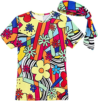 COSAVOROCK Disfraz años 70 Mujer Hippie Camiseta con Diadema ...