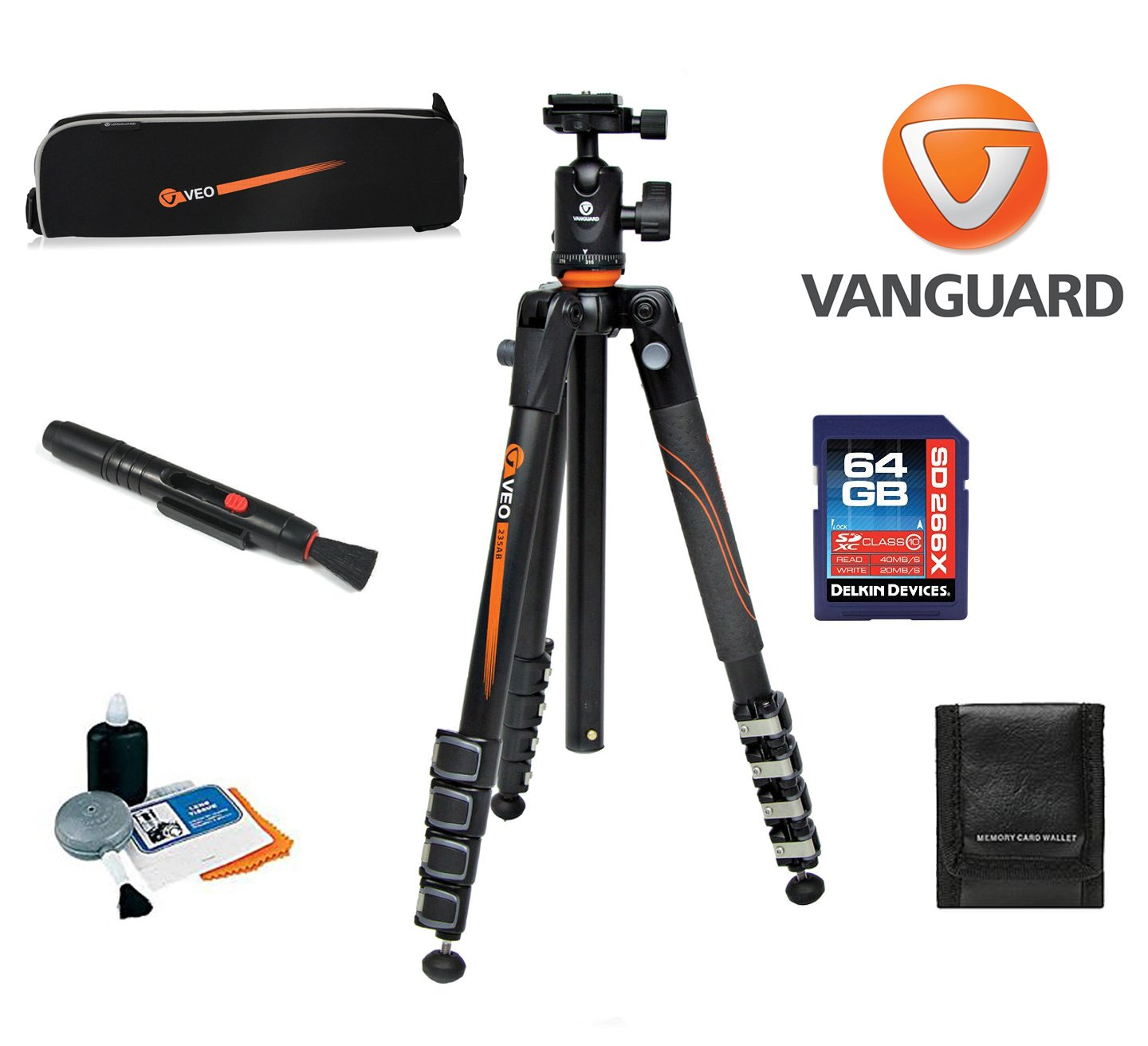Vanguard VEO 235AB Aluminum Tripod with Ball Head W/ Vanguard Case, 64GB SDXC Card, Cleaning Kit, Lens Pen, Memory Card Wallet by Vanguard