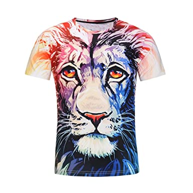2157c1c99e69 Kanpola Sport Herren T-Shirt Slim Fit Casual Tierdruck Print O Neck Kurzarm  Shirt Top