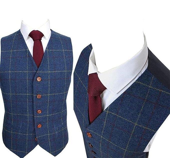 3ee042e586 Yunjia Mens Premium Wool Blend Tweed Herringbone Check Plaid 5 Buttons  Waistcoat Suits Vest