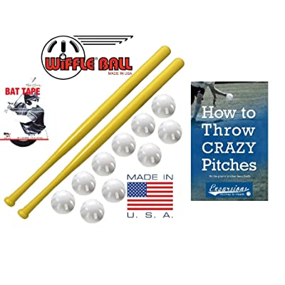 WIFFLE Ball and Bat Combo Set, 10 Balls Baseballs, 2 Bats, 1 Roll Bat Tape, and Pitching Guide: Toys & Games