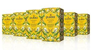 Pukka Turmeric Glow, Organic Herbal Tea with Lemon & Whole Leaf Green Tea (6 Pack, 120 Tea Bags)