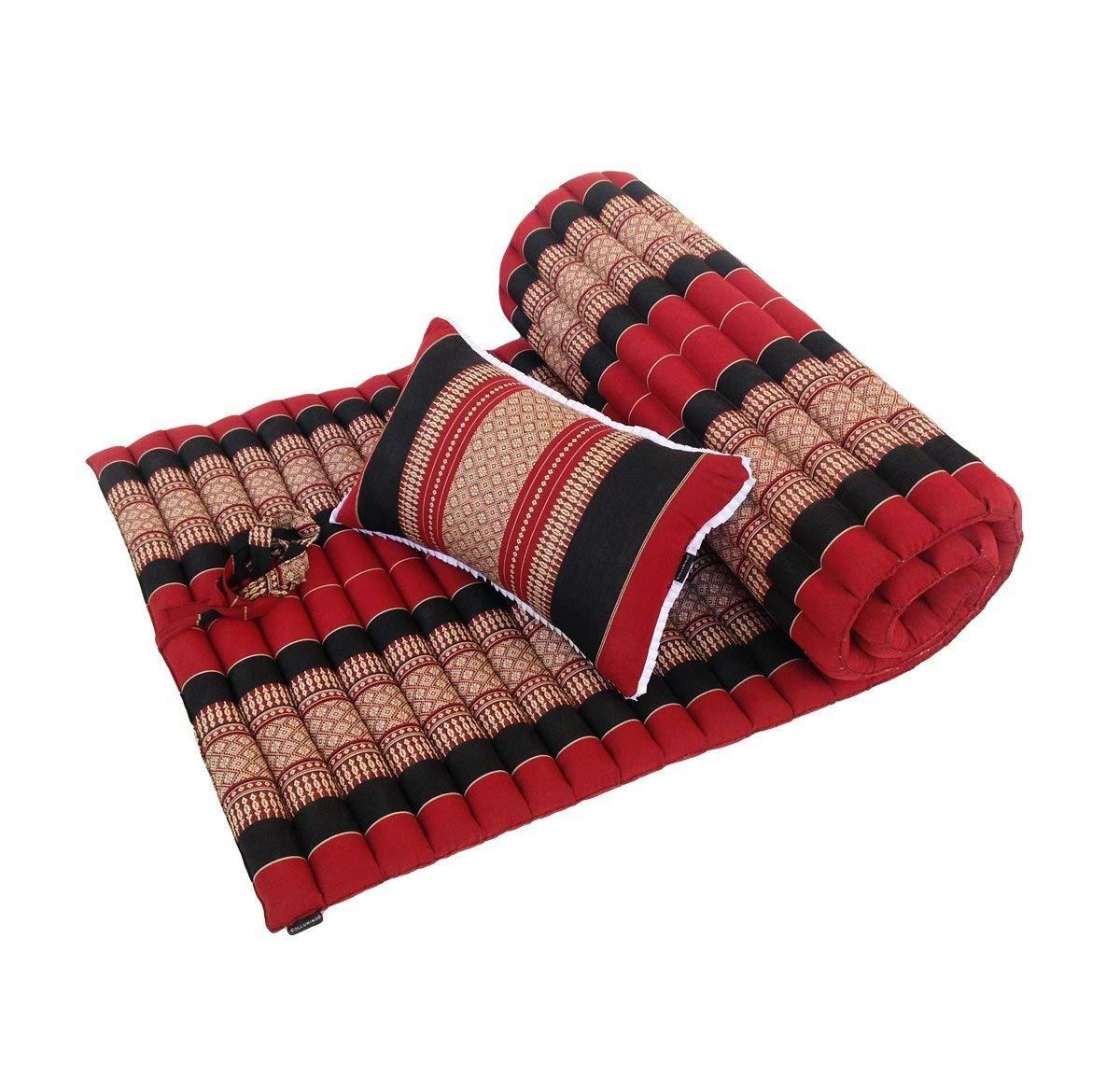 Matelas de m/éditation traditionnel tha/ï kapok /à enrouler avec support assorti doreiller de massage pour le yoga ou relaxation